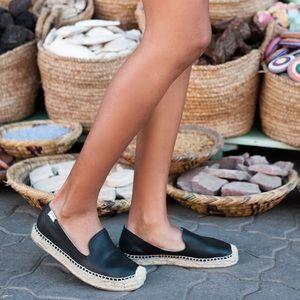 Soludos Black 'Smoking' Espadrille Platform Shoe